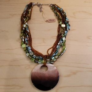 Glass Beaded Triple Strand Adjustable Necklace